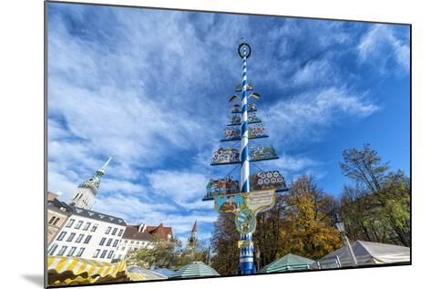 Munich, Bavaria, Germany, Maypole at the Viktualienmarkt (Food Market) in Autumn-Bernd Wittelsbach-Mounted Photographic Print