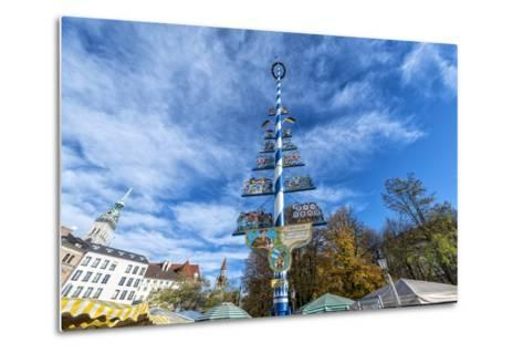 Munich, Bavaria, Germany, Maypole at the Viktualienmarkt (Food Market) in Autumn-Bernd Wittelsbach-Metal Print