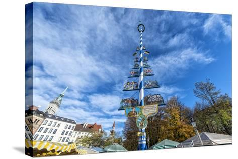 Munich, Bavaria, Germany, Maypole at the Viktualienmarkt (Food Market) in Autumn-Bernd Wittelsbach-Stretched Canvas Print