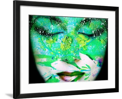 A Collage of Close-Up Portraits Layered with Flowers and Waterdrocps in Mainly Green and Blue Color-Alaya Gadeh-Framed Art Print