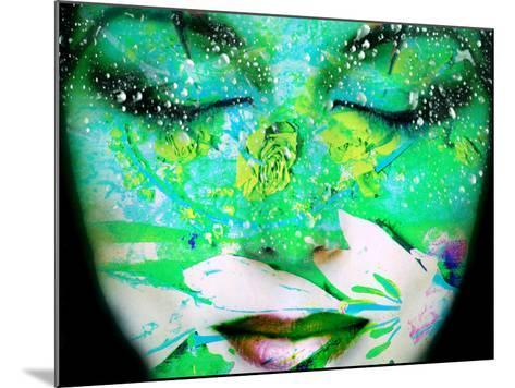 A Collage of Close-Up Portraits Layered with Flowers and Waterdrocps in Mainly Green and Blue Color-Alaya Gadeh-Mounted Photographic Print