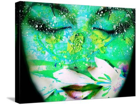 A Collage of Close-Up Portraits Layered with Flowers and Waterdrocps in Mainly Green and Blue Color-Alaya Gadeh-Stretched Canvas Print