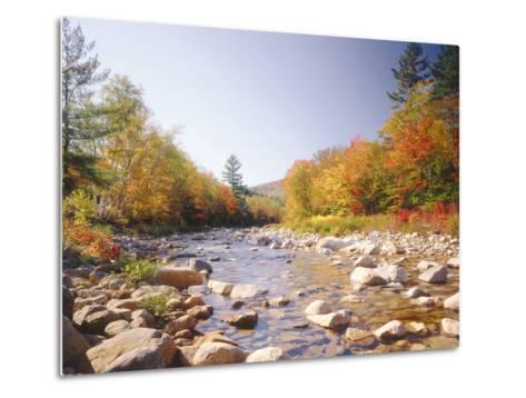 USA, New Hampshire, White Mountains, Swift River, Landscape, Autumn-Thonig-Metal Print