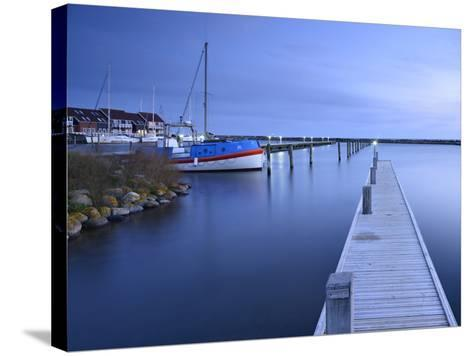 Denmark, Island M¿n, Klintholm Havn, Footbridge, Sail Yachts and Summer Cottages in the Harbour-Andreas Vitting-Stretched Canvas Print