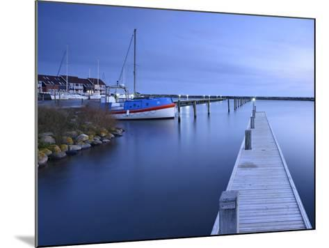 Denmark, Island M¿n, Klintholm Havn, Footbridge, Sail Yachts and Summer Cottages in the Harbour-Andreas Vitting-Mounted Photographic Print