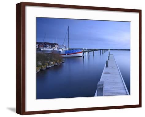 Denmark, Island M¿n, Klintholm Havn, Footbridge, Sail Yachts and Summer Cottages in the Harbour-Andreas Vitting-Framed Art Print