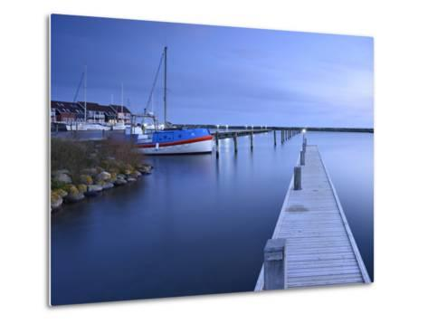 Denmark, Island M¿n, Klintholm Havn, Footbridge, Sail Yachts and Summer Cottages in the Harbour-Andreas Vitting-Metal Print