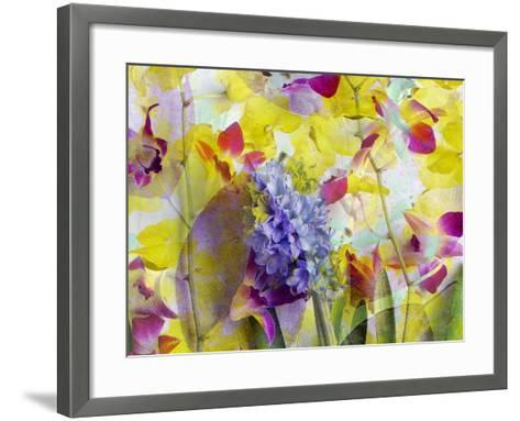 An Abstract Multicolor Floral Montage Photographic Layer Work-Alaya Gadeh-Framed Art Print