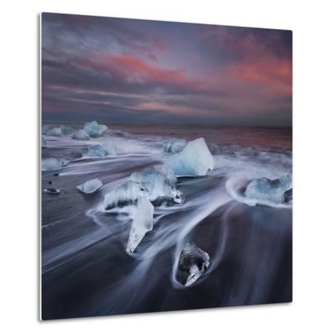 Ice Chunks on the Beach Next to Glacial River Lagoon Jškuls‡rlon (Lake), East Iceland, Iceland-Rainer Mirau-Metal Print