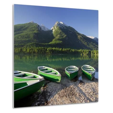 Boats in the Hintersee, Berchtesgadener Land District, Bavaria, Germany-Rainer Mirau-Metal Print