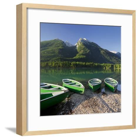 Boats in the Hintersee, Berchtesgadener Land District, Bavaria, Germany-Rainer Mirau-Framed Art Print
