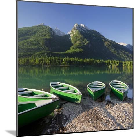 Boats in the Hintersee, Berchtesgadener Land District, Bavaria, Germany-Rainer Mirau-Mounted Photographic Print