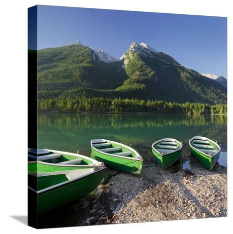 Boats in the Hintersee, Berchtesgadener Land District, Bavaria, Germany-Rainer Mirau-Stretched Canvas Print
