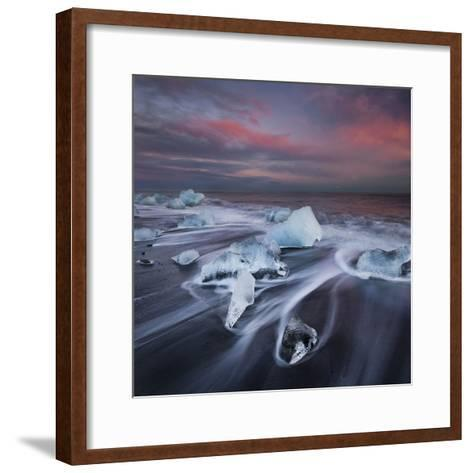 Ice Chunks on the Beach Next to Glacial River Lagoon Jškuls‡rlon (Lake), East Iceland, Iceland-Rainer Mirau-Framed Art Print