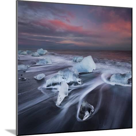 Ice Chunks on the Beach Next to Glacial River Lagoon Jškuls‡rlon (Lake), East Iceland, Iceland-Rainer Mirau-Mounted Photographic Print