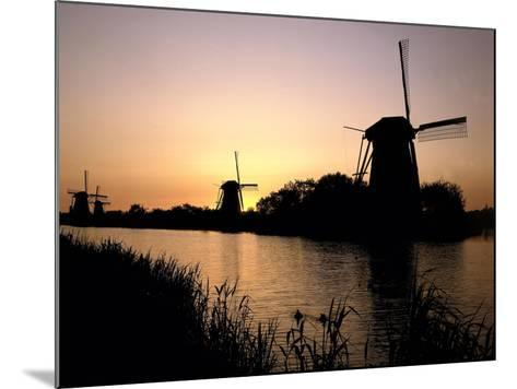 Netherlands, Kinderdijk, Canal, Windmills, Evening Mood-Thonig-Mounted Photographic Print