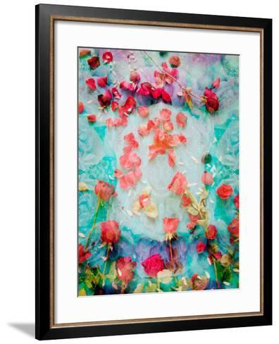 Photomontage of Red Roses and Floralen Ornaments-Alaya Gadeh-Framed Art Print