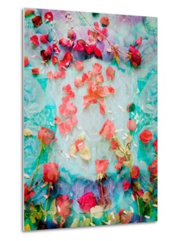 Photomontage of Red Roses and Floralen Ornaments-Alaya Gadeh-Metal Print