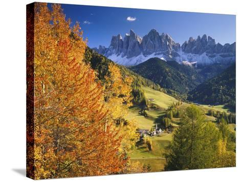 Italy, South Tyrol, Villn?Tal, St. Magda Lena, Geislerspitzen-Thonig-Stretched Canvas Print
