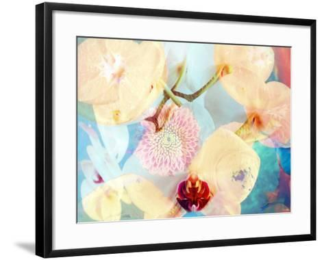 Composing with White and Pink Blossoms Infront of Blue Background-Alaya Gadeh-Framed Art Print