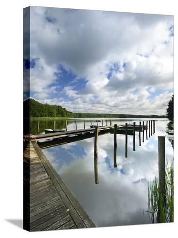 Germany, Brandenburg, Himmelpfort, Moderfitzsee, Jetty, Rowing Boats-Andreas Vitting-Stretched Canvas Print