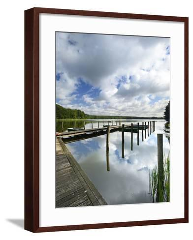 Germany, Brandenburg, Himmelpfort, Moderfitzsee, Jetty, Rowing Boats-Andreas Vitting-Framed Art Print