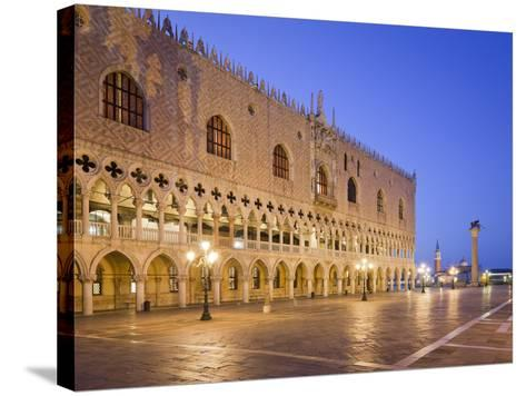 Italy, Veneto, Venice, St. Mark's Square, Doge's Palace, Lighting, Dusk-Rainer Mirau-Stretched Canvas Print