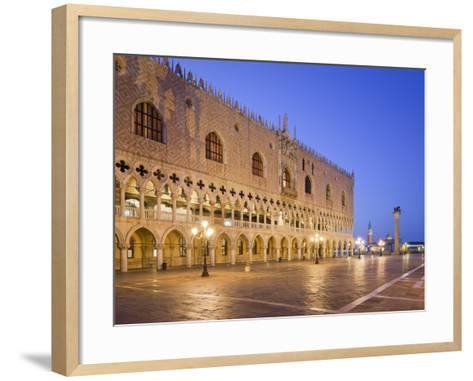 Italy, Veneto, Venice, St. Mark's Square, Doge's Palace, Lighting, Dusk-Rainer Mirau-Framed Art Print
