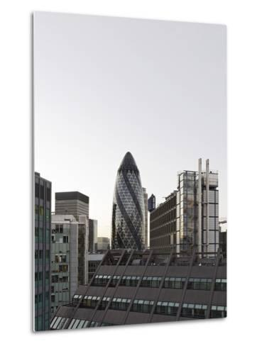 Cityscape with Swiss Re Tower by Architect Sir Norman Foster, 30 St Mary Axe, England-Axel Schmies-Metal Print