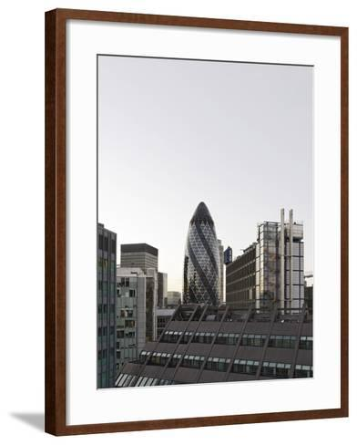 Cityscape with Swiss Re Tower by Architect Sir Norman Foster, 30 St Mary Axe, England-Axel Schmies-Framed Art Print