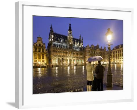 Belgium, Brussels, Grand-Place, Grote Market, Couple, Evening-Rainer Mirau-Framed Art Print