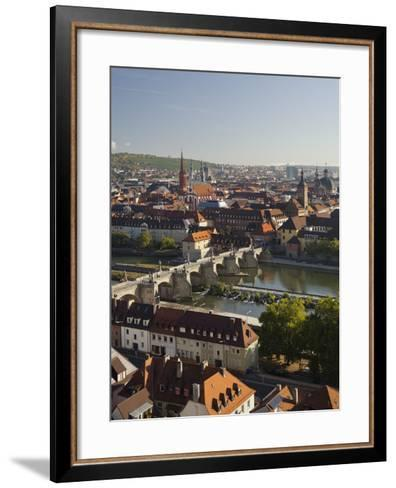 View from the 'Marienberg' Fortress over Wurzburg, 'Alte MainbrŸcke' (Bridge-Rainer Mirau-Framed Art Print