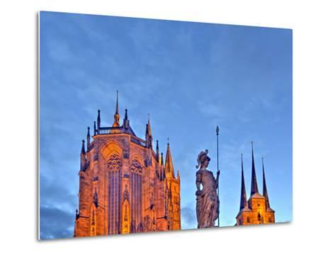 Germany, Thuringia, Erfurt, Domplatz, Severichurch, St. Mary's Cathedral, Monument, Lighting, Dusk-Harald Schšn-Metal Print