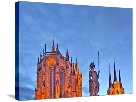 Germany, Thuringia, Erfurt, Domplatz, Severichurch, St. Mary's Cathedral, Monument, Lighting, Dusk-Harald Schšn-Stretched Canvas Print