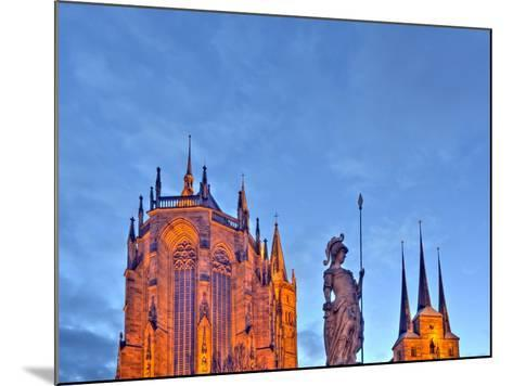 Germany, Thuringia, Erfurt, Domplatz, Severichurch, St. Mary's Cathedral, Monument, Lighting, Dusk-Harald Schšn-Mounted Photographic Print