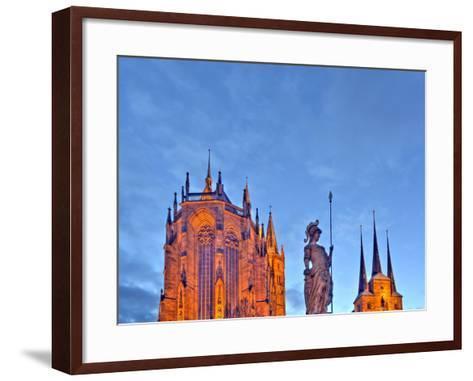 Germany, Thuringia, Erfurt, Domplatz, Severichurch, St. Mary's Cathedral, Monument, Lighting, Dusk-Harald Schšn-Framed Art Print
