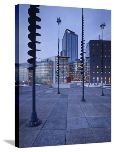 France, Paris, La Defense, High Rises, Le Basin De Takis, Sculptures-Rainer Mirau-Stretched Canvas Print