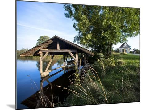 Boat Garage in the Schwaigfurt Pond Bad Schussenried, Baden-WŸrttemberg, Germany-Markus Leser-Mounted Photographic Print