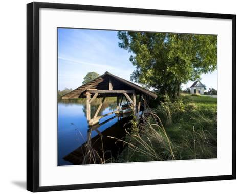 Boat Garage in the Schwaigfurt Pond Bad Schussenried, Baden-WŸrttemberg, Germany-Markus Leser-Framed Art Print