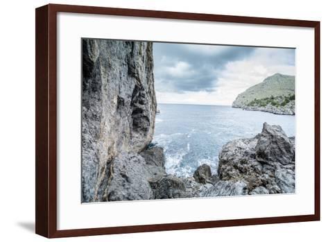 Steep Coast on Majorca with View to the Sea at Sa Calobra-Jorg Simanowski-Framed Art Print
