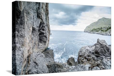 Steep Coast on Majorca with View to the Sea at Sa Calobra-Jorg Simanowski-Stretched Canvas Print