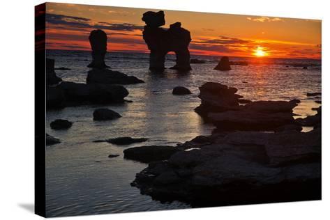 Stacks on the Island Far? Close Gotland, Sweden, Silhouette, Sundown-Thomas Ebelt-Stretched Canvas Print