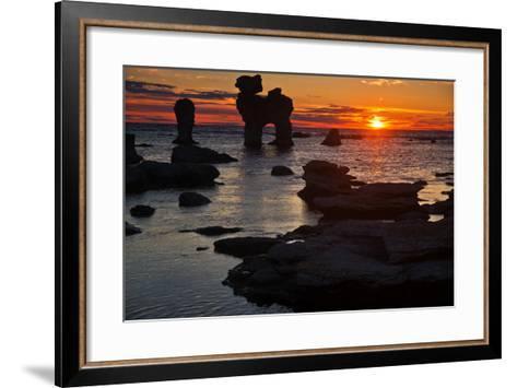 Stacks on the Island Far? Close Gotland, Sweden, Silhouette, Sundown-Thomas Ebelt-Framed Art Print