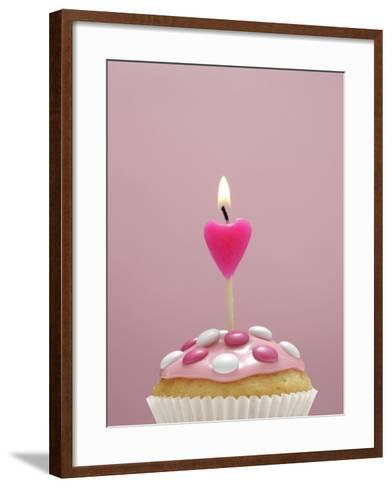 Muffin, Icing, Pink, Chocolate Beans, Candle, Heart Form, Burn, Detail-Nikky-Framed Art Print