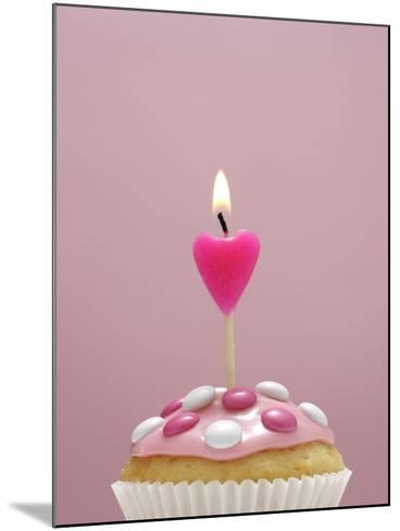 Muffin, Icing, Pink, Chocolate Beans, Candle, Heart Form, Burn, Detail-Nikky-Mounted Photographic Print