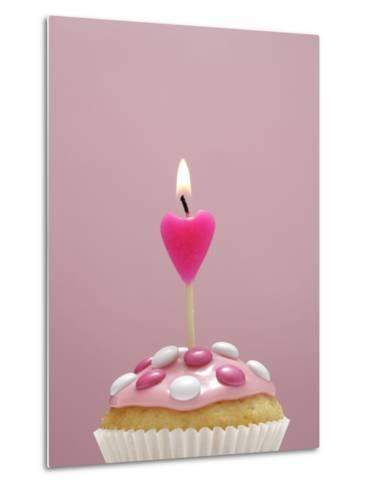 Muffin, Icing, Pink, Chocolate Beans, Candle, Heart Form, Burn, Detail-Nikky-Metal Print