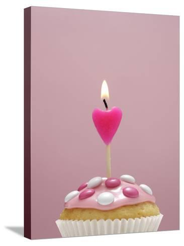 Muffin, Icing, Pink, Chocolate Beans, Candle, Heart Form, Burn, Detail-Nikky-Stretched Canvas Print