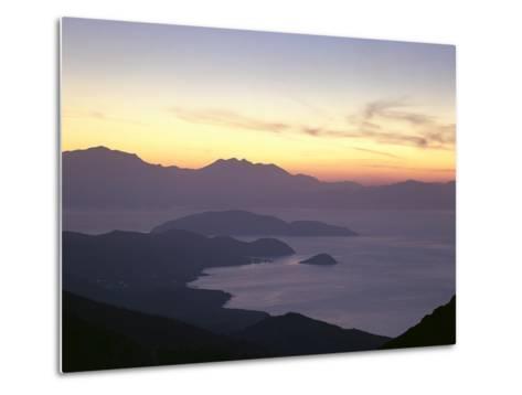 Greece, Crete, Agios Nikolaos, Mirabello Bay, Sunset-Thonig-Metal Print