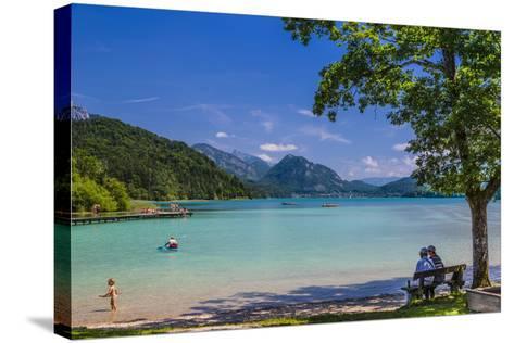 Austria, Salzburg Country, Salzkammergut, Fuschl Am See, Lake Fuschlsee, West Bank, Natural Beach-Udo Siebig-Stretched Canvas Print