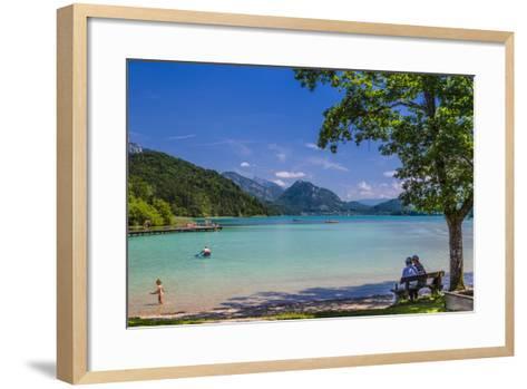 Austria, Salzburg Country, Salzkammergut, Fuschl Am See, Lake Fuschlsee, West Bank, Natural Beach-Udo Siebig-Framed Art Print